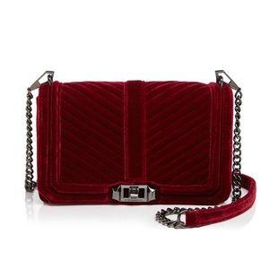 Rebecca Minkoff Love Chevron Velvet burgundy bag